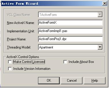 设置activexform项目