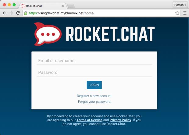 默认 Rocket.Chat 登录页面的屏幕截图